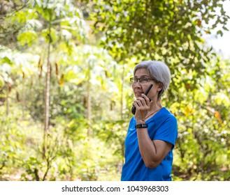 Woman with a walkie-talkie