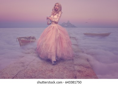 Woman walking above sea of mist and clouds