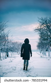 woman walking alone in winter landscape in moody weather, hiking girl wearing black coat with hood walk in snowy landscape