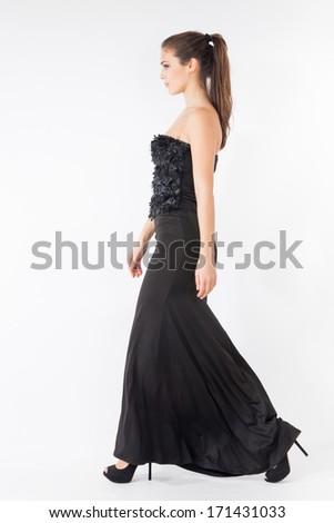 Woman Walking Long Black Elegant Dress Stock Photo Edit Now