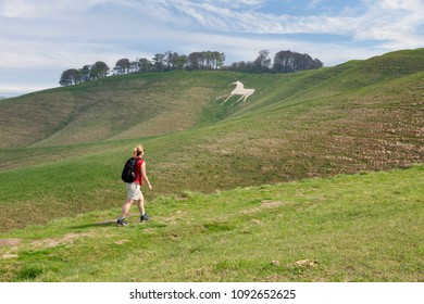 Woman walking on the hills around the White Horse at Cherhill, near Calne, England, UK.