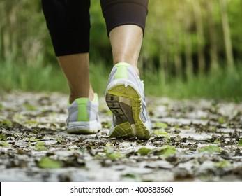 Woman Walking on Trail Track Outdoor Adventure Trekking lifestyle