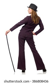 Woman with walking stick isolated on the white