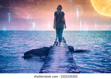 Woman walks on the concrete pier at the sea with artistic digital computer cyberspace network background.