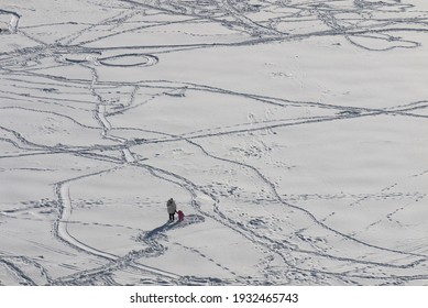 A woman walks with a small child in the recently fallen snow. There are many footprints of people, animals, sledges, skis around. Sunny frosty day. Winter landscape. Top view.