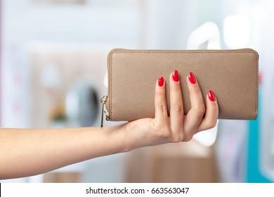 woman wallet in hand