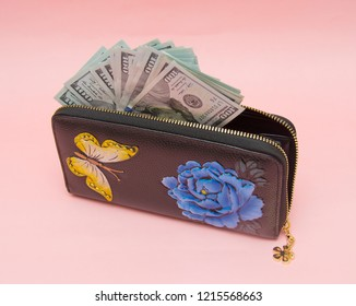 Woman wallet with money isolated on the pink background