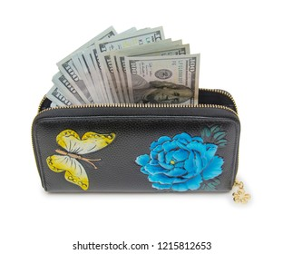 Woman wallet with money isolated on the white background