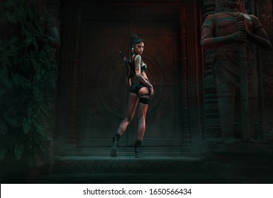 Woman warrior in an ancient asian temple