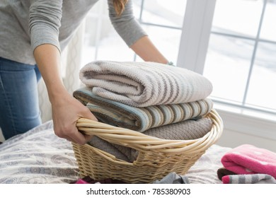 Woman washing clothes doing laundry