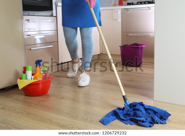 Woman Washing Floor Mop Kitchen Cleaning Stock Photo Edit