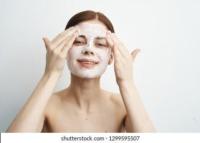 woman washing her foam
