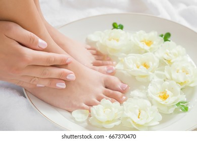 Woman washing her legs in the bowl in the bathroom. Cares about a clean and soft skin with body creams, lotions or oils after shower and shaving. Fresh and fragrant white roses in the water.