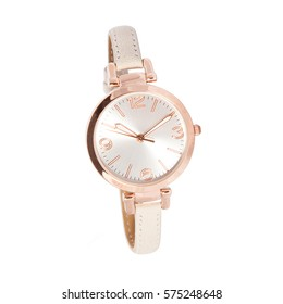 Woman watch, gold and white color, leather bracelet
