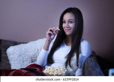 Woman watching film