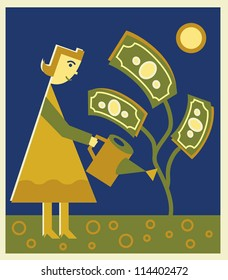 A woman watering a money tree