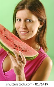 Woman with a watermelon