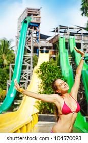 woman in waterpark