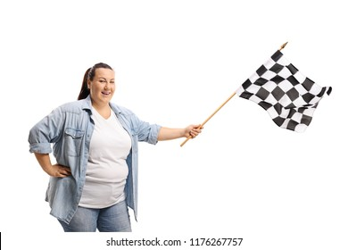 Woman waving a checkered race flag isolated on white background