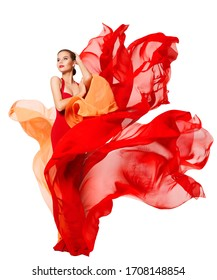 Woman Waving Red Dress Fluttering as Flame, Flowing Silk Cloth, Beautiful Fashion Model in Artistic color Fabric on White