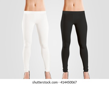 Woman wear blank leggings mockup, black, white, isolated on grey. Women in clear leggins template. Cloth pants design presentation. Sport pantaloons stretch tights model wearing. Slim legs in apparel.