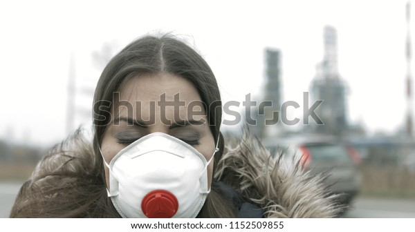 Photo Air Now Woman Mask Against edit Pollution Stock Wearing