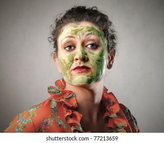 Woman wearing a beauty mask