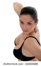 Woman wearing black bra