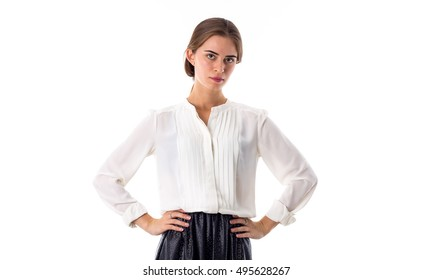 Woman wearing blouse and skirt