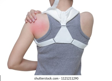 woman wearing clavicle brace for immobilize shoulder ,clavicle support for fracture clavicle