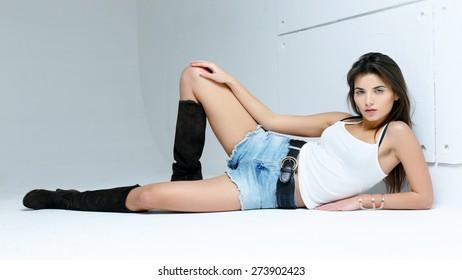 Woman wearing denim shorts