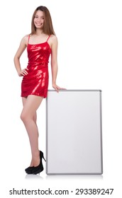 Woman wearing dress isolated on white