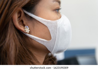 Woman wearing a dust mask N95 to protect PM2.5
