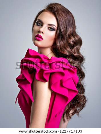 Woman Wearing Fashionable Creative Red Dress Stock Photo Edit Now