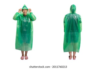 Woman wearing a green raincoat, Wearing pink shoes, Front and Back view, Isolated on white background