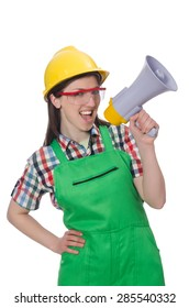 Woman wearing hard hat with loudspeaker