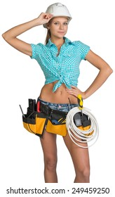 Woman wearing hard hat and tool belt, with coil of cable at her waist, her hand at the bill, looking at camera. Isolated on white background