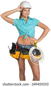 Woman wearing hard hat and tool belt, with coil of cable at her waist, her hand at the bill, looking at camera, smiling. Isolated on white background