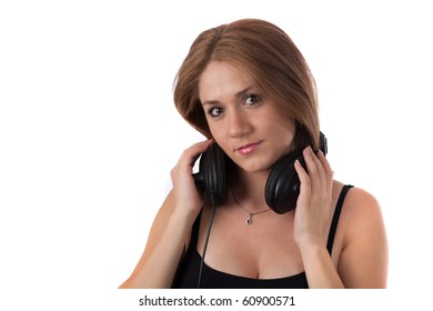 Woman wearing headphones smiling isolated on white