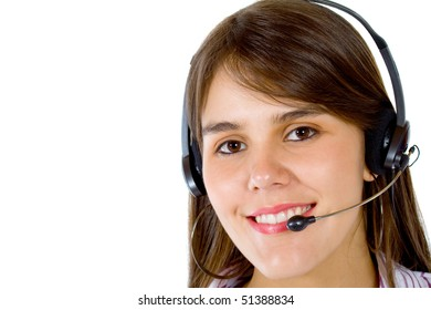Woman wearing a headset isolated over a white background