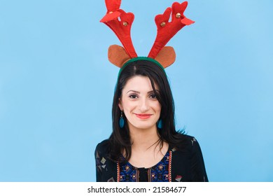Woman wearing horns for Christmas
