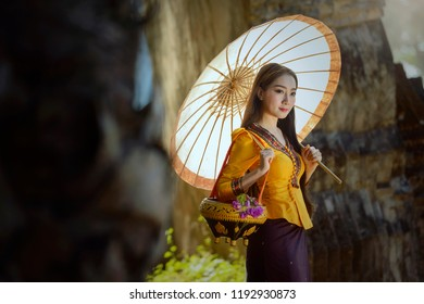 woman wearing laos traditional dress costume,vintage style,Laos