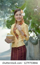 woman wearing laos traditional dress costume,vintage style,Laos culture,Laos