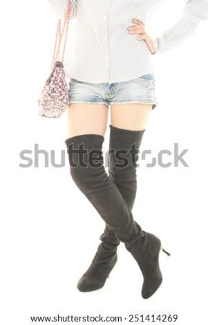 c3d36385a5b Woman Wearing Long Boots Stock Photo (Edit Now) 251414269 - Shutterstock