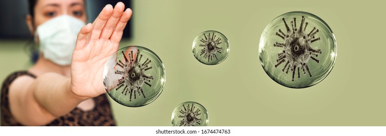 woman wearing mask and scared from coronavirus in transparent bubbles