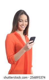 Woman wearing an orange shirt using a mobile phone isolated on a white background