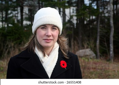 Woman wearing poppy