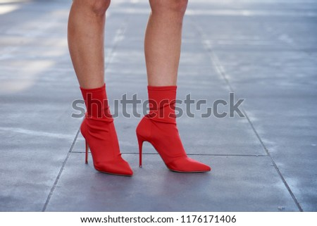 8b0f7ff9b031 Woman Wearing Red Sock Ankle Boots Stock Photo (Edit Now) 1176171406 ...