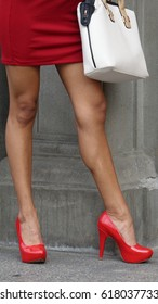 Woman Wearing Red Stiletto High Heels