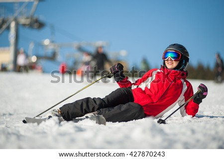 7bbea097e8d Woman Wearing Ski Goggles Helmet Red Stock Photo (Edit Now ...